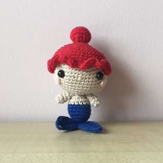 Mini red head mermaid (with desired name tag or short message tag)