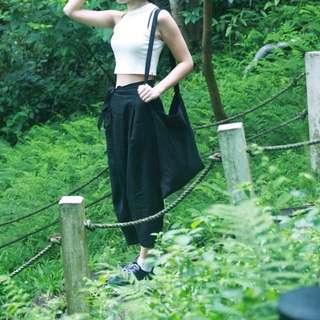 轉售Per. 韓國 歐美設計款黑色棉麻綁帶寬褲 闊腿褲 八分褲 黑色寬褲