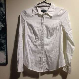 Portmans White Long Sleeved Button Up Office Corporate Suit Formal Shirt