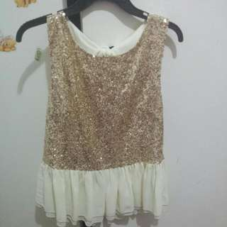 $10 Reduced! Ally Fashion Sequin Peplum Top L