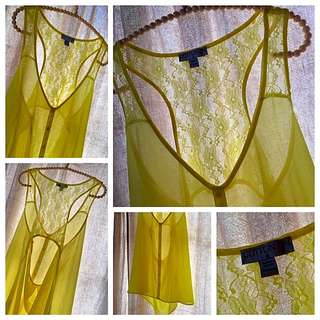 Cotton On Bright Yellow Lace Racer back Top