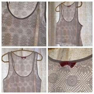 White Lace Crop Top Sz XS