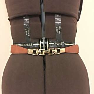 Brown Belt With Gold Hardware