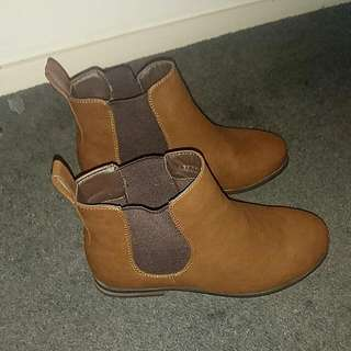 Boohoo Brown Chelsea Ankle Boots