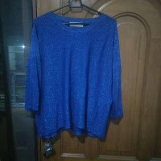 Sweater Biru Glitter