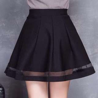 INSTOCK Black Mesh Skater Designed Basic Skirt