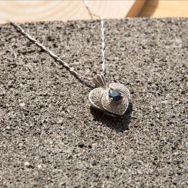 (銀樓)斯里蘭卡藍寶石+真鑽愛心墜鍊