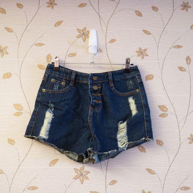 全新)高腰排扣刷破帥氣牛仔短褲