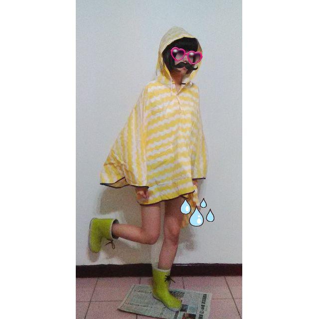 日系輕薄淡黃色斗篷式雨衣 梅雨季 雨衣 日本帶回