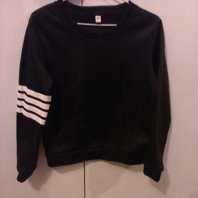 Black SWEATSHIRT With White Stripes On Sleeve