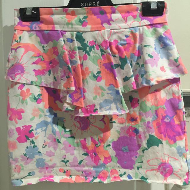 Bright Floral Peplum Skirt