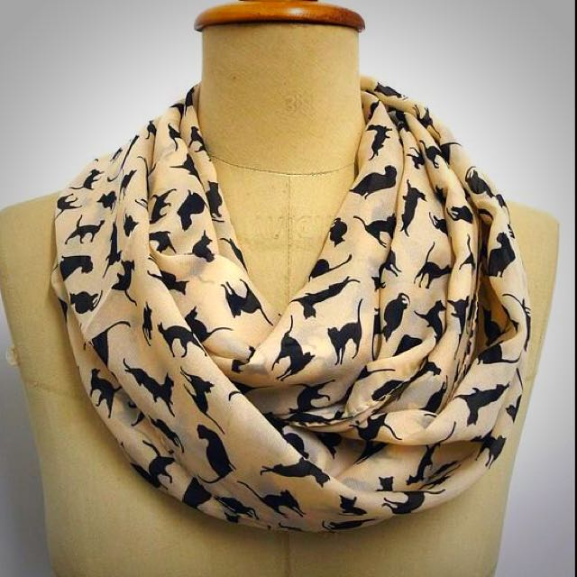 Cute As A Cat Chiffon Tan Cat Scarf