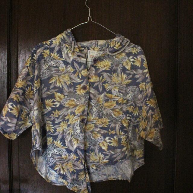 Floral Hoodie Cropped Shirt