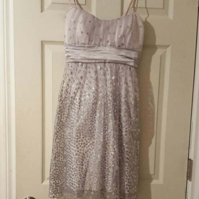 Formal Silver Polka Dot Dress