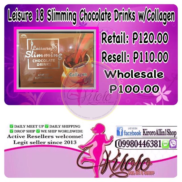 Leisure 18 Slimming Chocolate Drinks W/Collagen