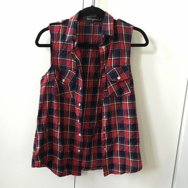 MISGUIDED Tartan Vest Size 8