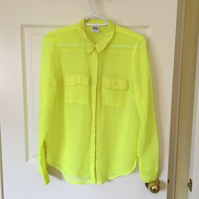 a98e36b3ad8d Neon yellow Dress Shirt, Women's Fashion on Carousell