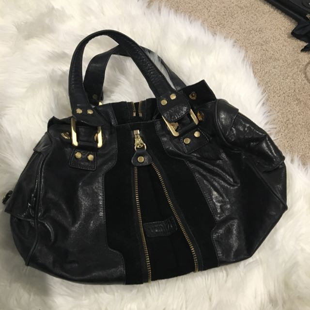 Real Leather Handbag With Suede Details