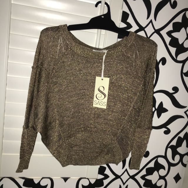 SASS Brand New Size 8 Jumper Gold Metallic
