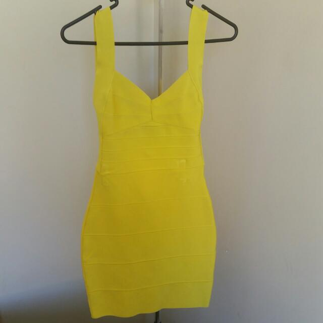 Yellow Misha Collection Bandage Dress