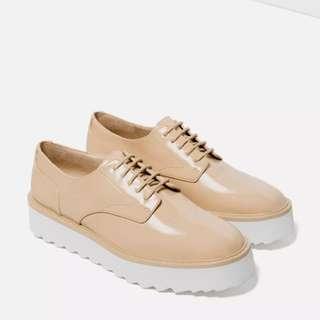 Zara Flat Platform Lace-up Shoes