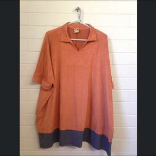 Orange Suede Type Kaftan