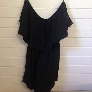 Silky Shoulderless Black Jumpsuit