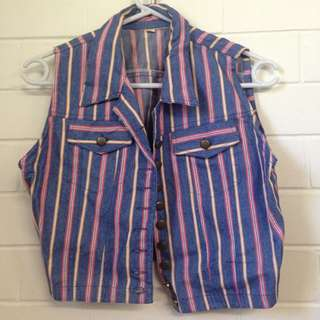 Striped Denim Button Up Vest