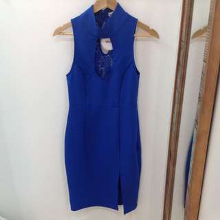 Blue Dress With Lace Feature