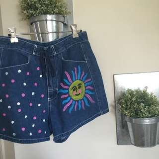 VINTAGE HIGH WAIST HAND PAINTED DENIM SHORTS