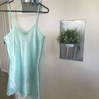 AQUA SATIN SLIP DRESS