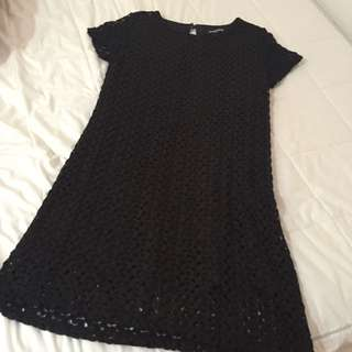 Dangerfield Knitted Black And Gold Speckled A-Line Dress