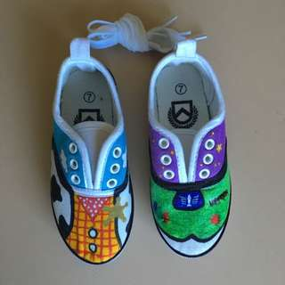 Hand painted Toy Story Themed Toddler Sneakers Size 7