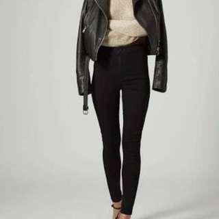 Topshop Black Joni Moto Jeans Petite