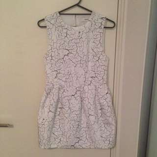 Cameo Marble Print White Dress