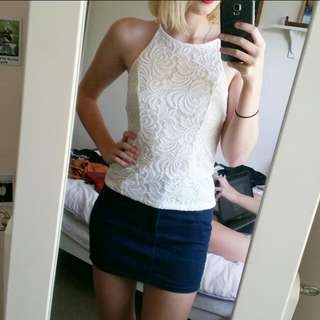 White Lace Singlet Top