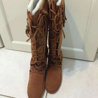 波西米亞麂皮靴