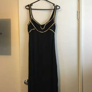 Anise Size 10 Maxi Dress. Black With Gold Trim