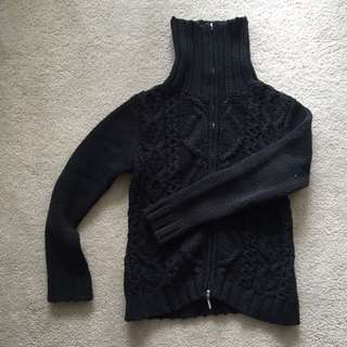 Black Zip Front Cardigan