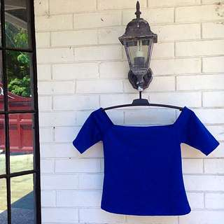 Fitted Off Shoulder Blue Top