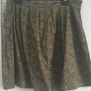 Princess Highway Green Floral Pleated Skirt