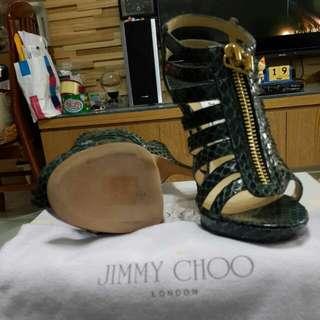 🚚 降價嘍~超質感綠色蛇皮jimmy Choo高跟涼鞋~尺寸36.5