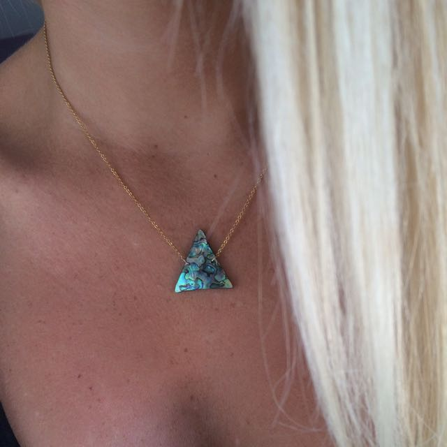 14k/20 Gold filled Paua Shell Triangle Necklace