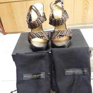 🚚 再降!!黑金低調Donnakaran高跟涼鞋~尺寸7號