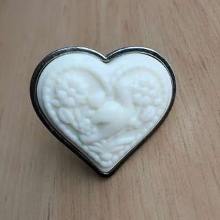 Heart Shaped Gold Ring With Dove Detail