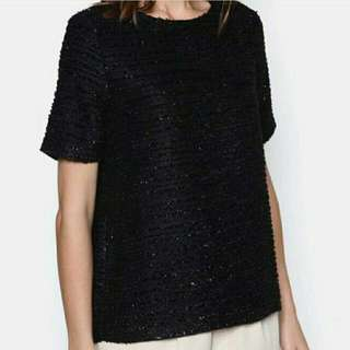 Zalora Luxe Tweed Top