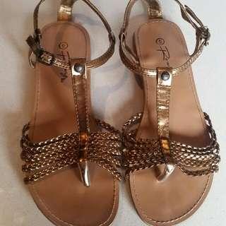 Gold Roxy Sandals