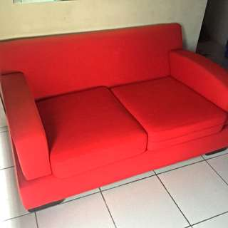 Red Two Seater Sofa, Love Seat Or Couch