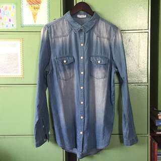 Cotton On denim button-down shirt