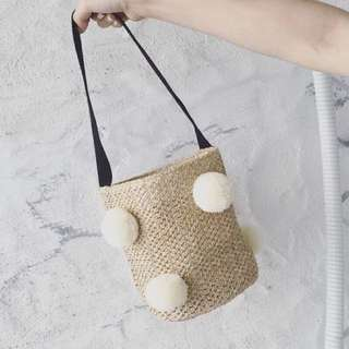 包-彩色球球 黑色背帶內含束口袋編織提袋